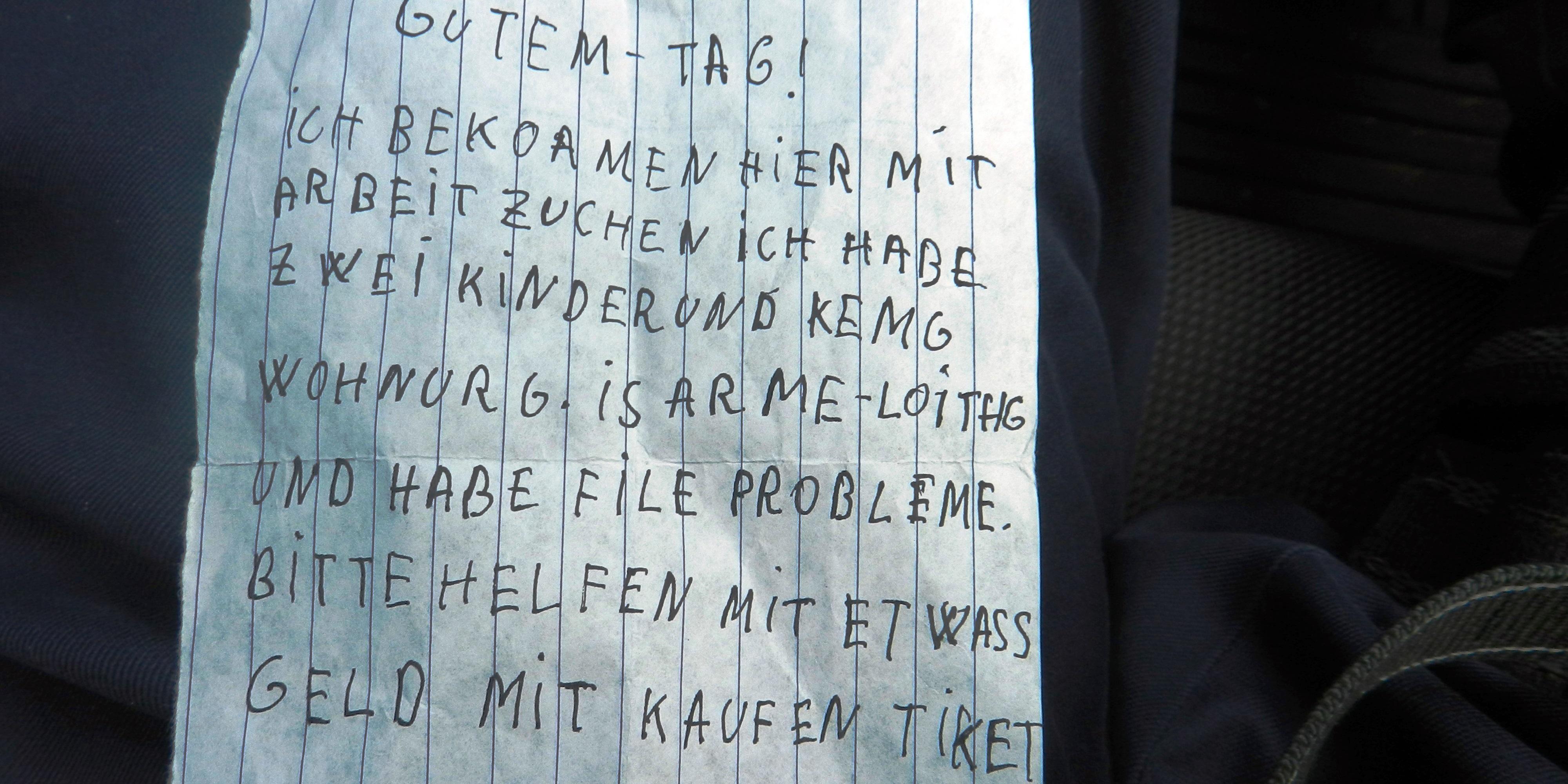 Bild Spendenzettel eines dubiosen Bettlers